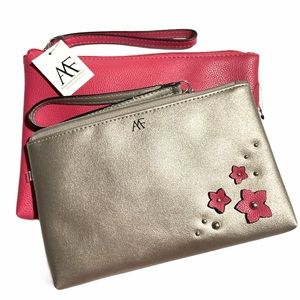 Anna Franco 2 Pcs Cosmetic Pouch Wallet Bags